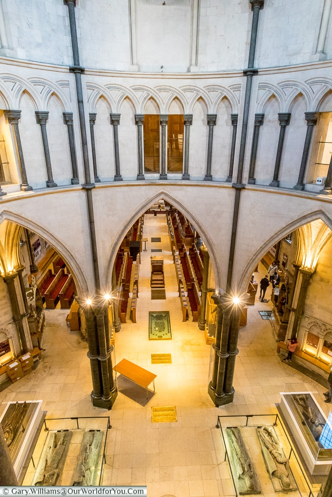 Looking down inside the Temple Church, London, England, UK