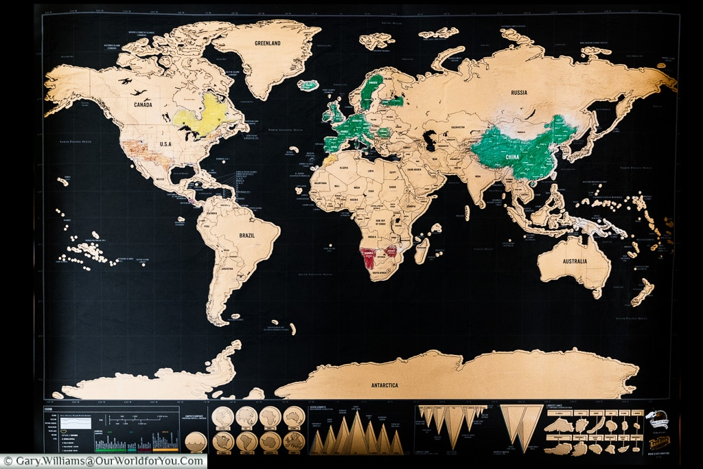 All Things Mappy Our World For You - Framed world scratch map