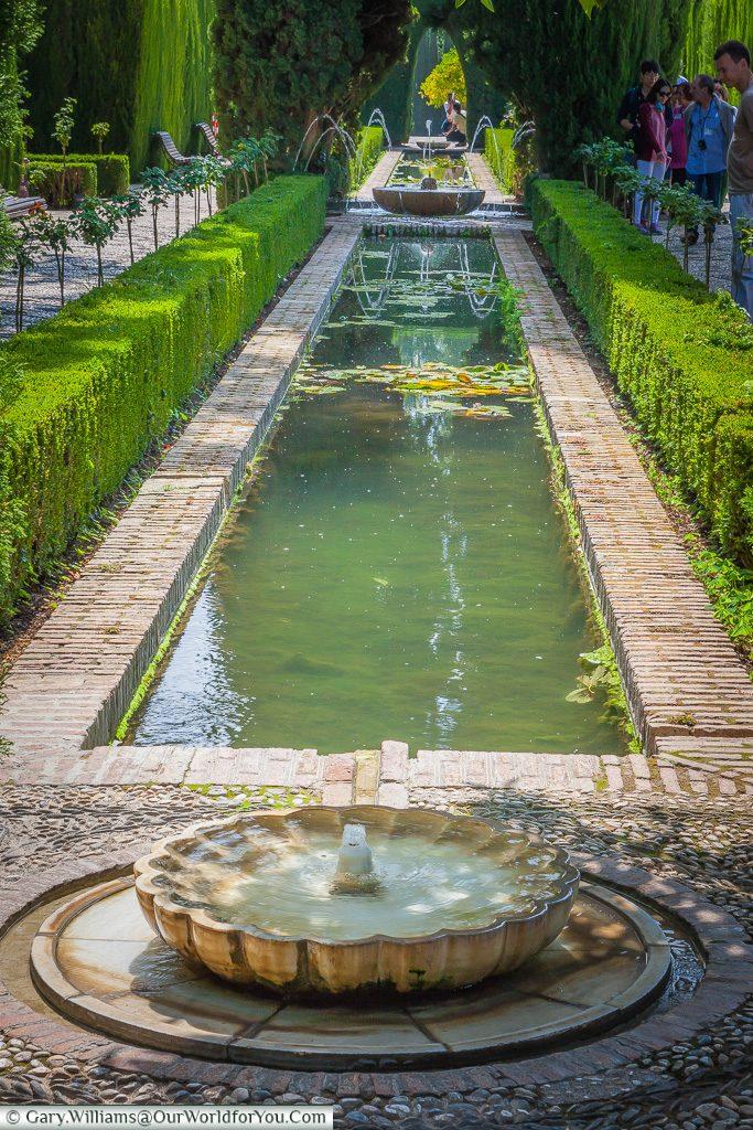 The sunken gardens at the Alhambra, Granada, Spain