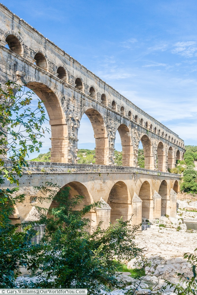 A side view of the Pont du Gard, France