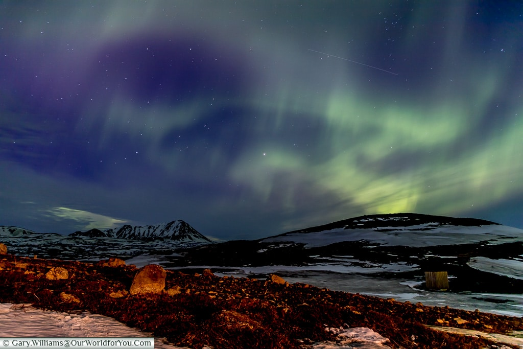 Northern Lights dancing in the sky at Reykjahlíð, Eastern Iceland