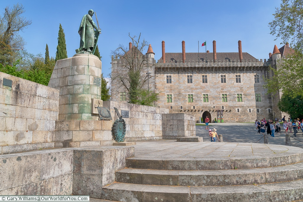 Statue to Dom Afonso Henriques and the Palace of the Dukes, Guimarães, Portugal