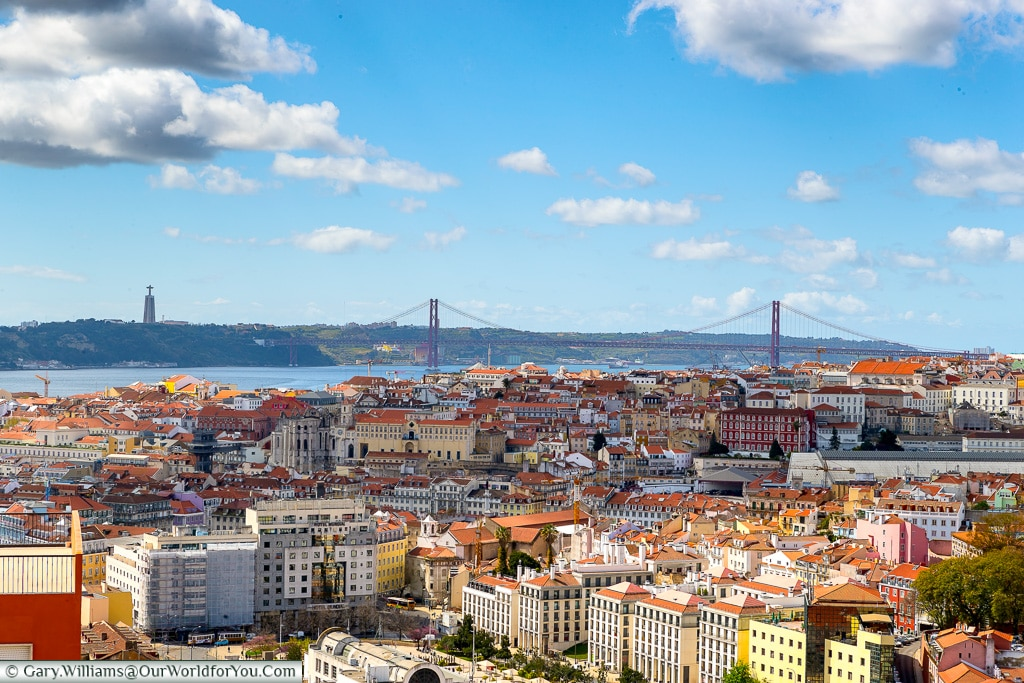 A view of the Ponte 25 de Abril across Lisbon, Portugal