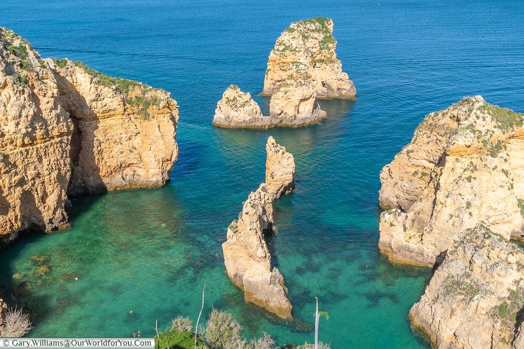 The stunning waters of Ponta da Piedade, Lagos, Algarve, Portugal