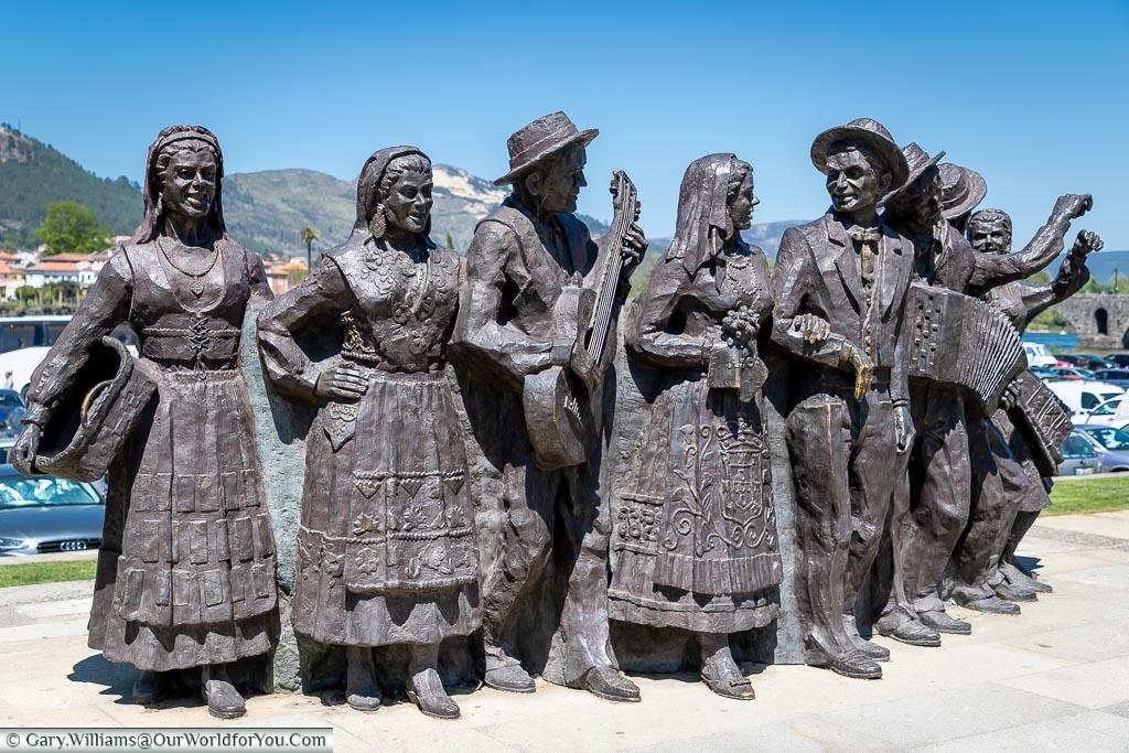 A monument to traditional dancers, Ponte de Lima, Portugal