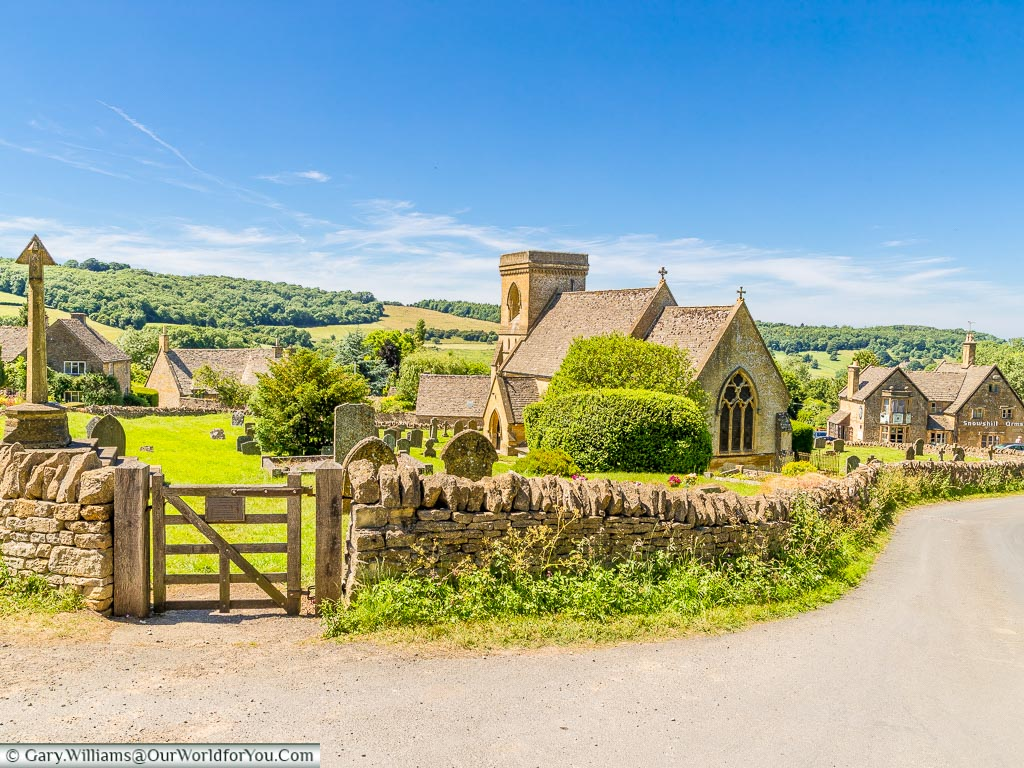 Snowshill, a picture-perfect village in the Cotswolds, with the Church at the centre, and the rolling hills of the countryside as a backdrop.