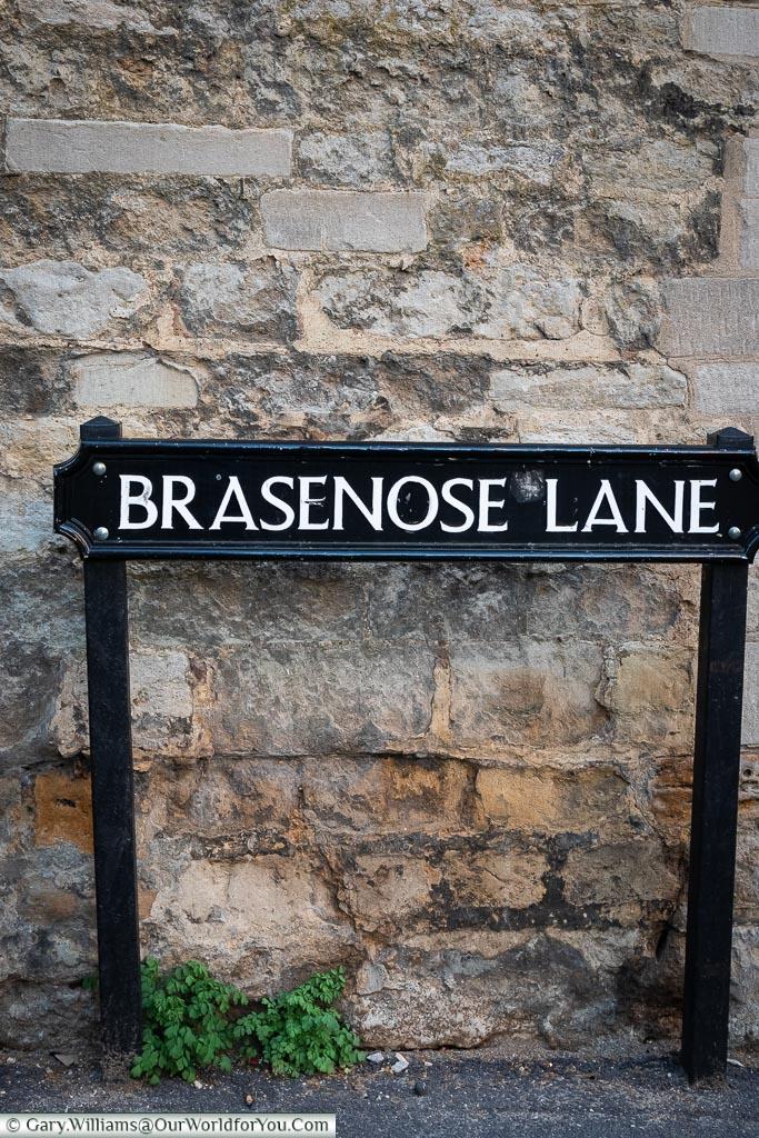 Brasenose Lane sign, Oxford, England, UK
