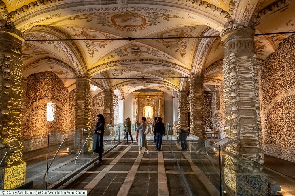 Inside the chapel of bones, Évora, Portugal