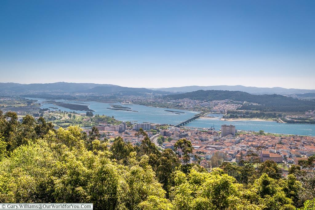 Looking across Viana do Castelo from Santuário de Santa Luzia, Portugal