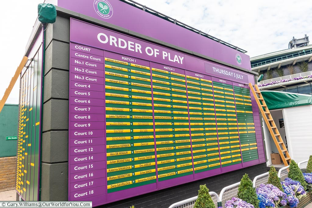 Order of Play, Tennis, Wimbledon, London, England, UK