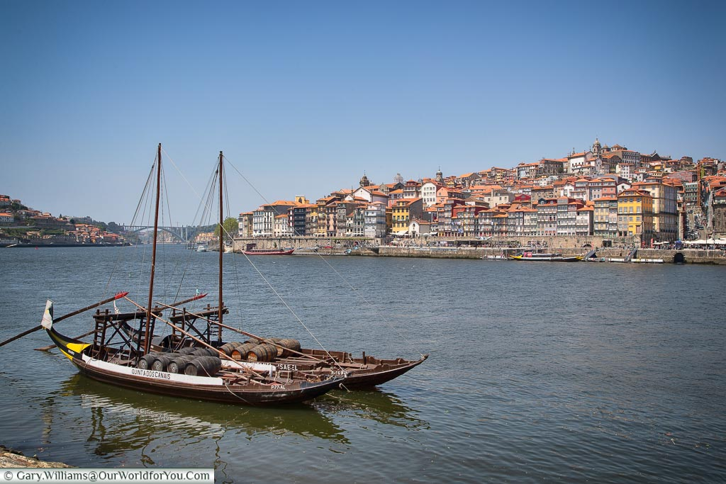 Rabelo boats, with the city in the background, Porto, Portugal