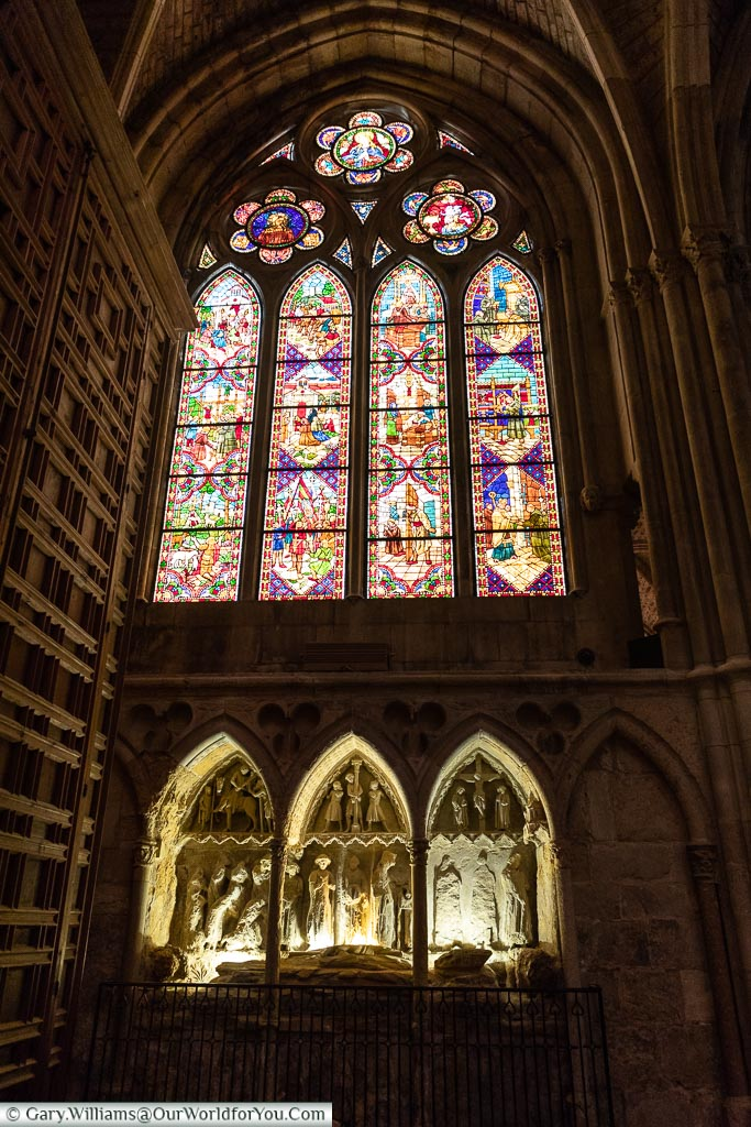 Stained glass window inside the Cathedral, León, Spain