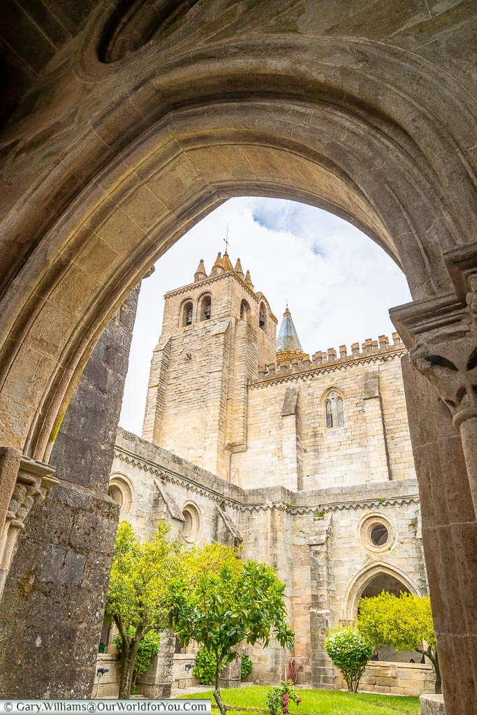 The Belltower of the Cathedral from the cloisters, Évora, Portugal
