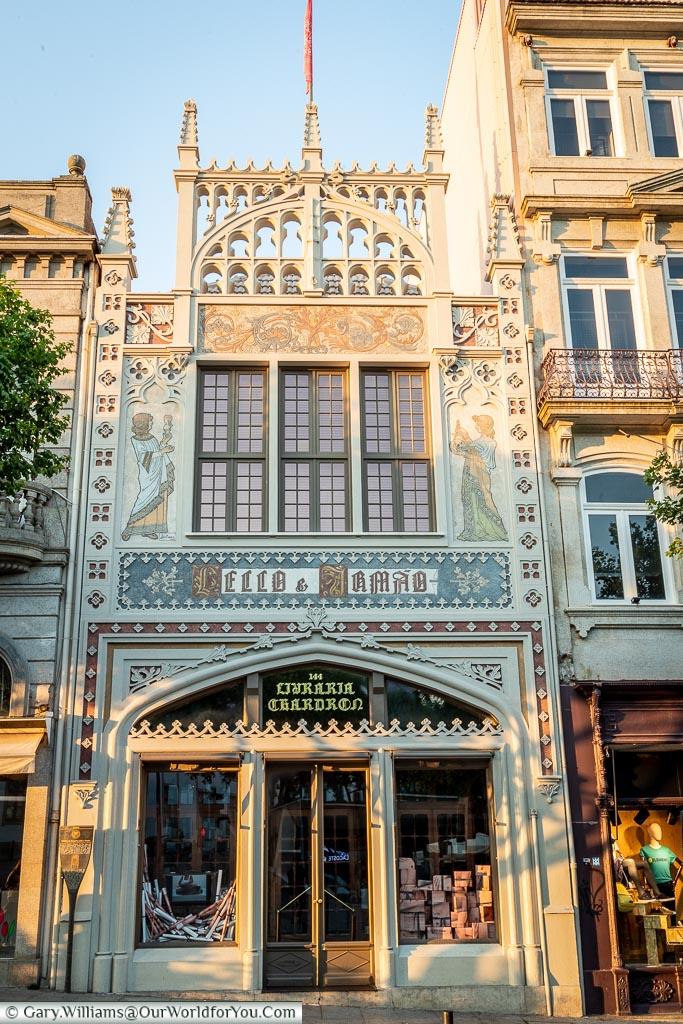 The exterior of Livraria Lello, Porto, Portugal
