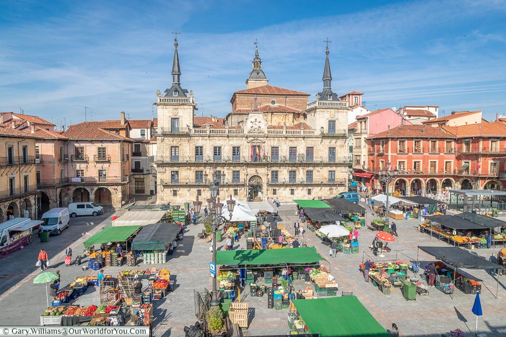 The view of the market from our hotel room, León, Spain