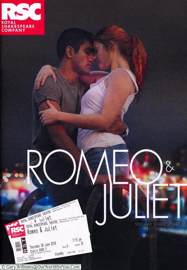 Romeo and Juliet programme, Stratford-upon-Avon, Warwickshire, England, UK