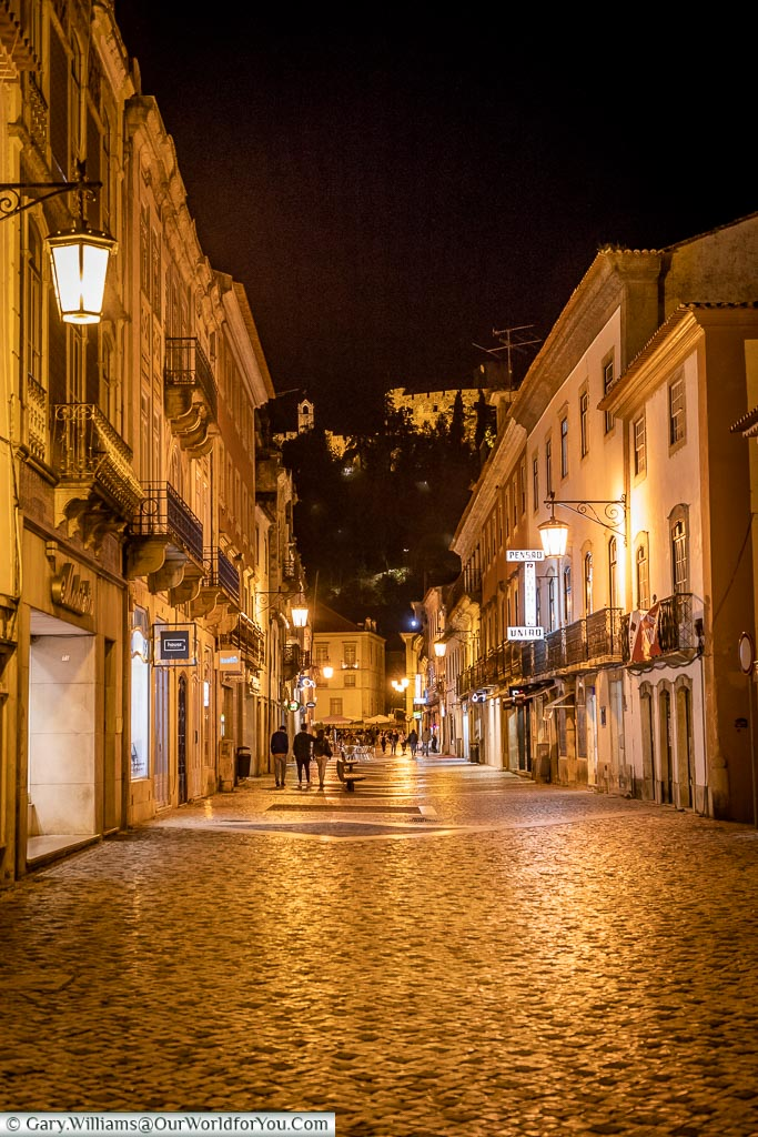Rua Serpa Pinto at night, Tomar, Portugal