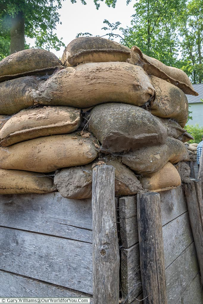 Sandbags on top of the defences, Passchendaele, Belgium