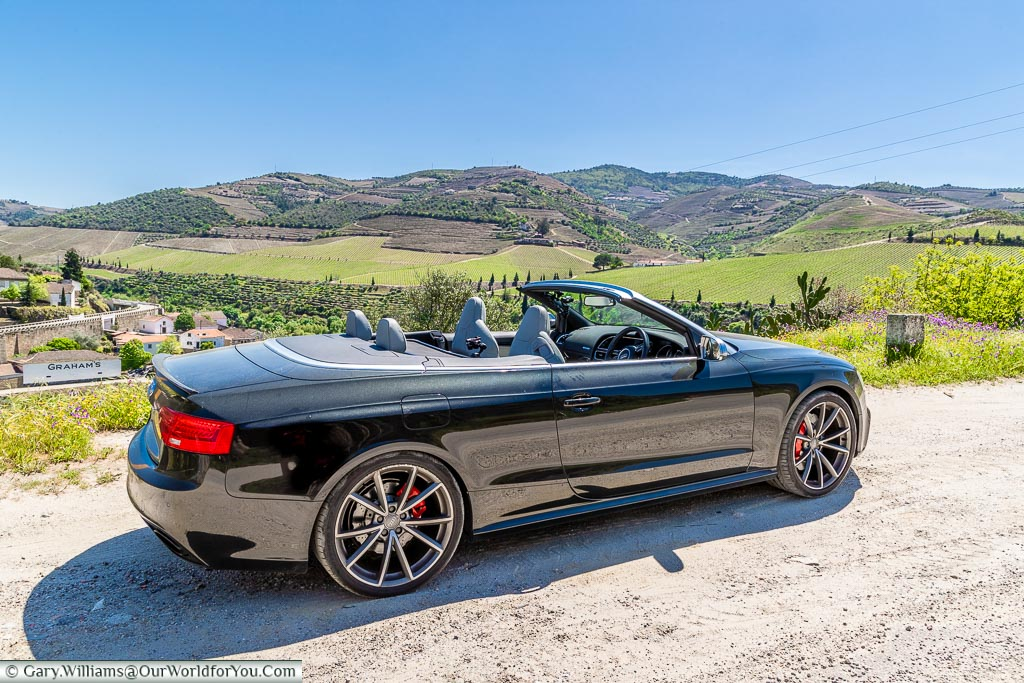 The Audi RS5 Cabriolet high up in the Douro Valley, Portugal