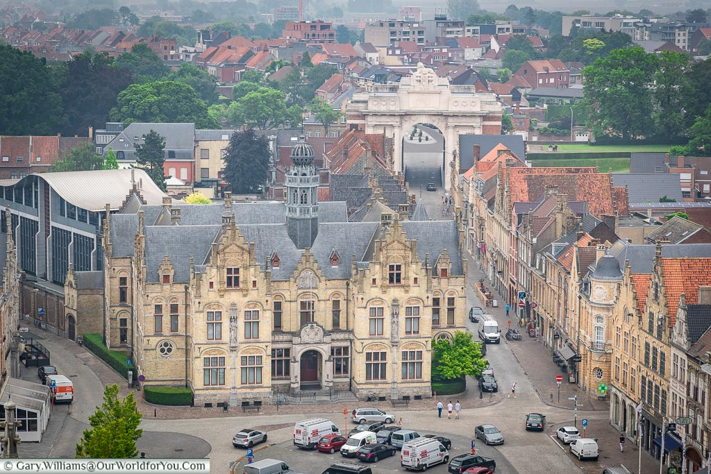 The Court of Justice and the Menin Gate, Ypres, leper, Belgium