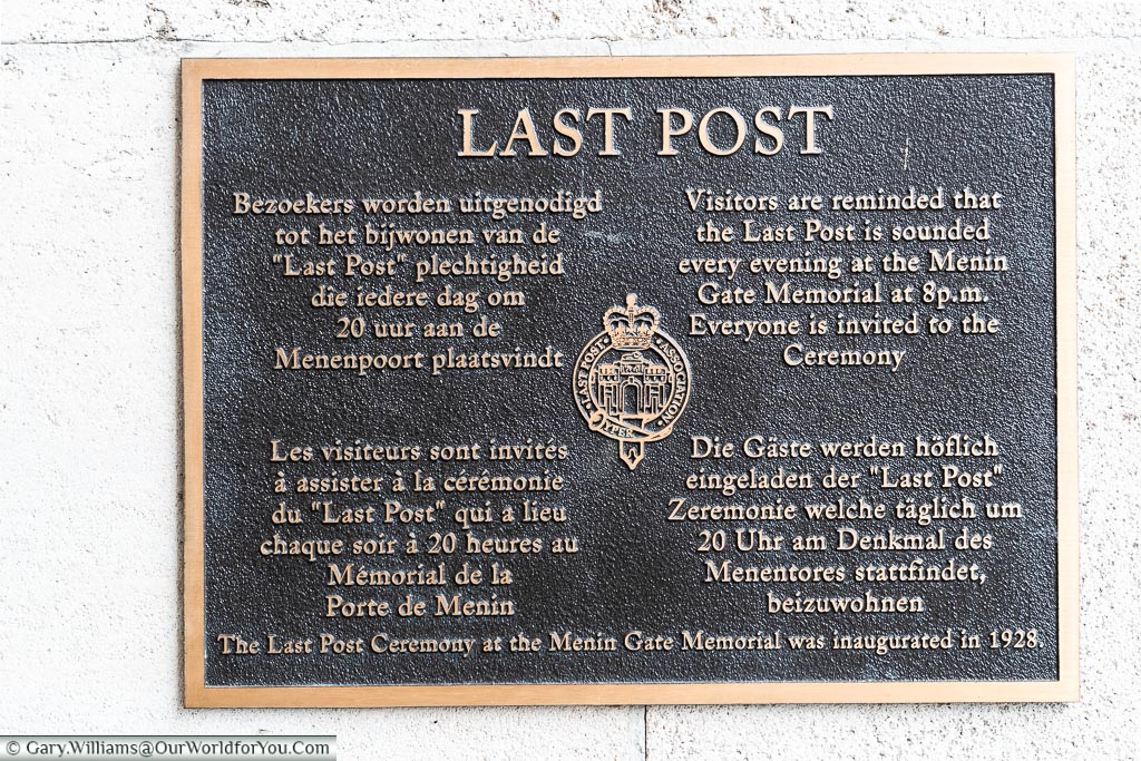 The Last Post sign, Ypres, leper, Belgium