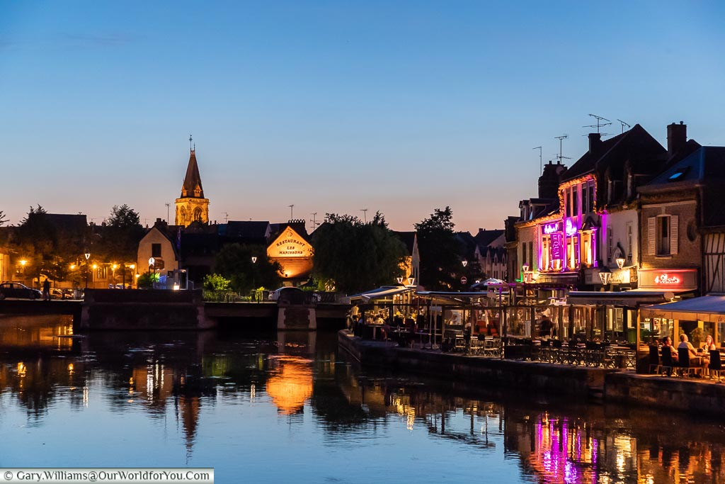 The Quai Bélu at dusk, Amiens, France