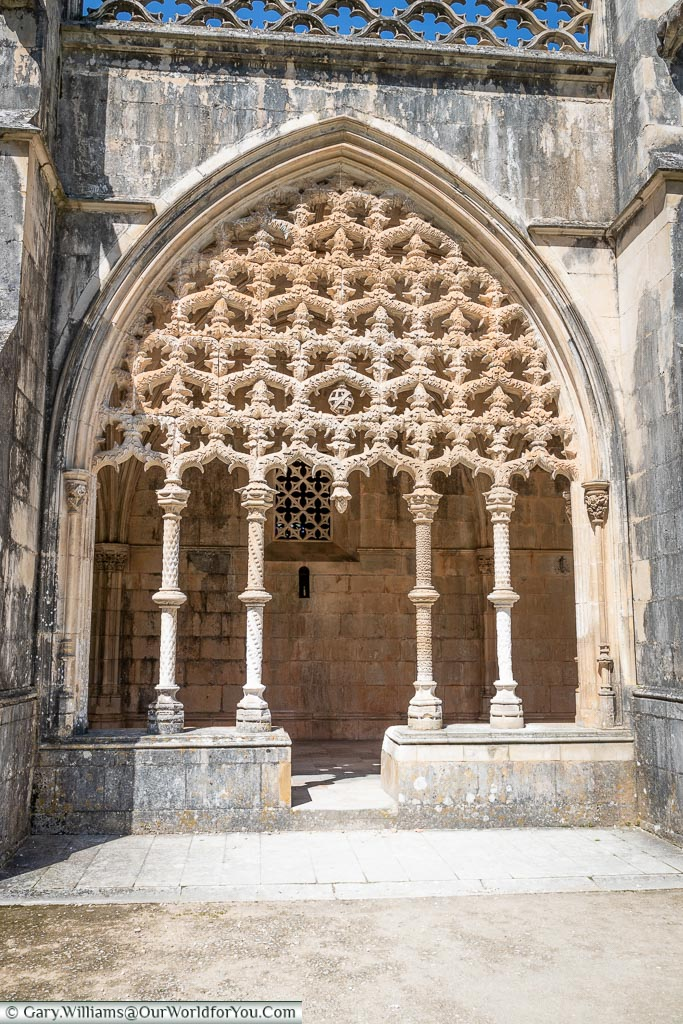 The intricate detail of the Royal Cloisters, Monastery of Batalha, Portugal