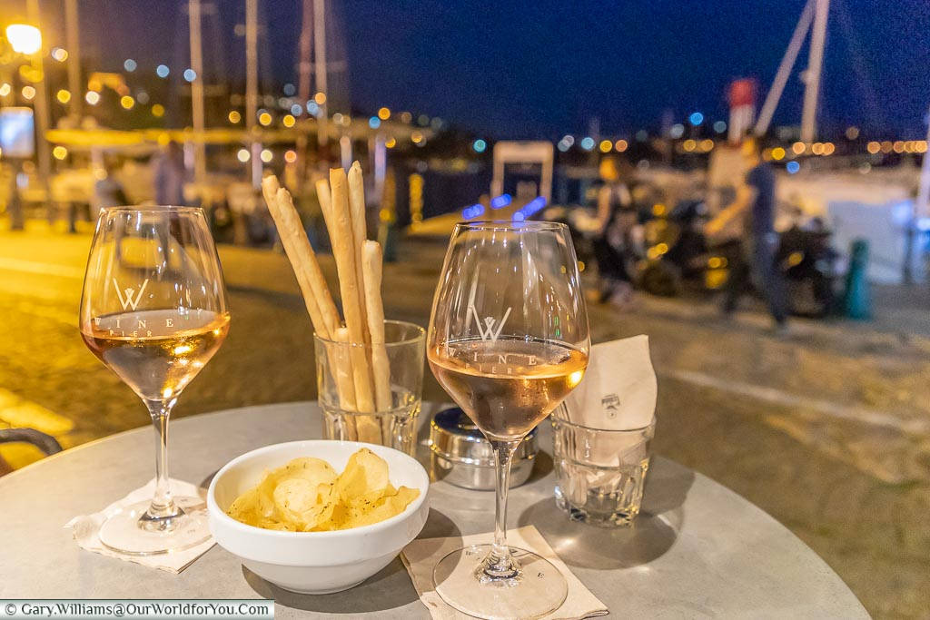 A couple of glasses of Rose on the quayside of Villefranche-sur-Mer, France
