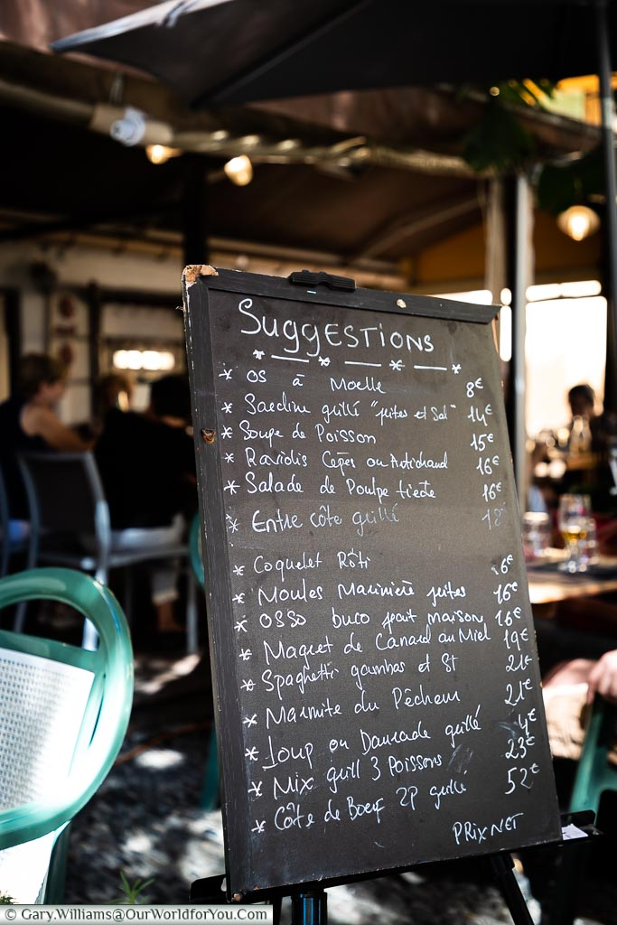 A daily menu, Villefranche-sur-Mer, France