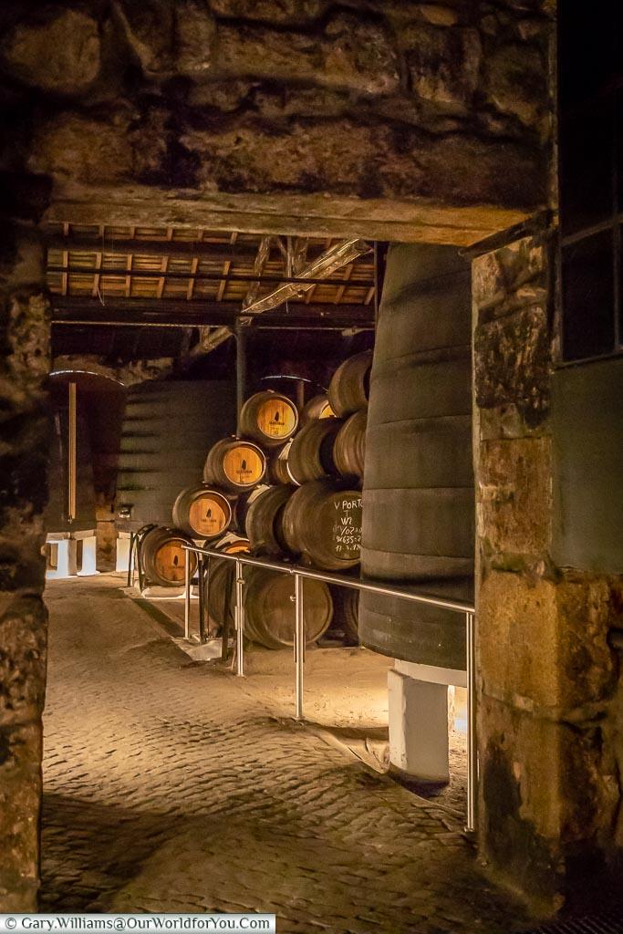 Into the Sandeman cellars, Porto, Portugal
