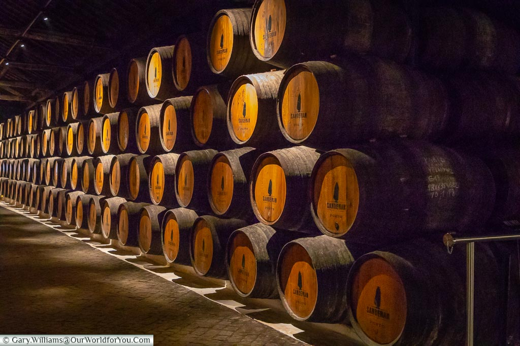 The Sandeman barrels, Porto, Portugal