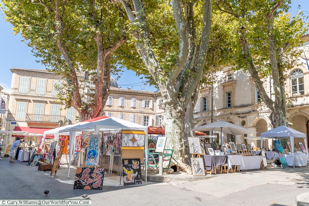 The art market in la place Jules Pelissier, St Remy-de-Provence, France
