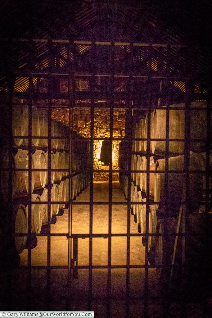 Under lock and key in the cellars, Sandemand cellars,, Porto, Portugal