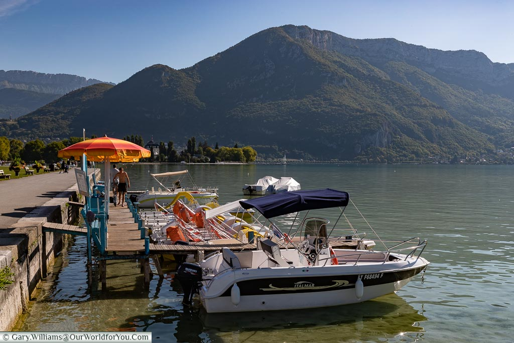 Boats for hire on the lake, Annecy, France