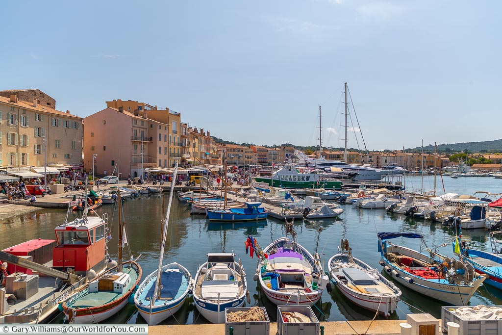Harbour view and fishing boats, St Tropez, France