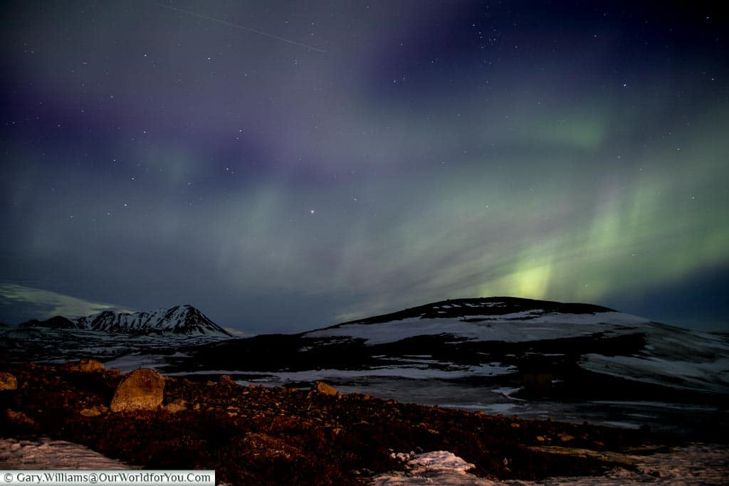 The Northern Lights in the air at Reykjahlíð, Eastern Iceland
