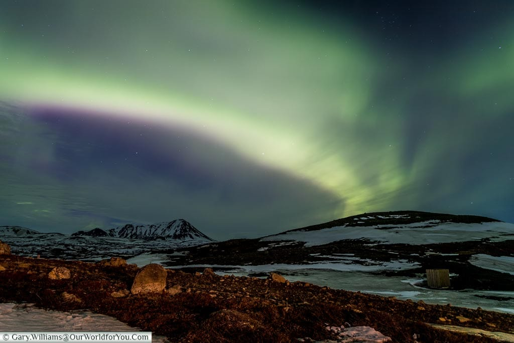 The Northern Lights outside Reykjahlíð , Iceland