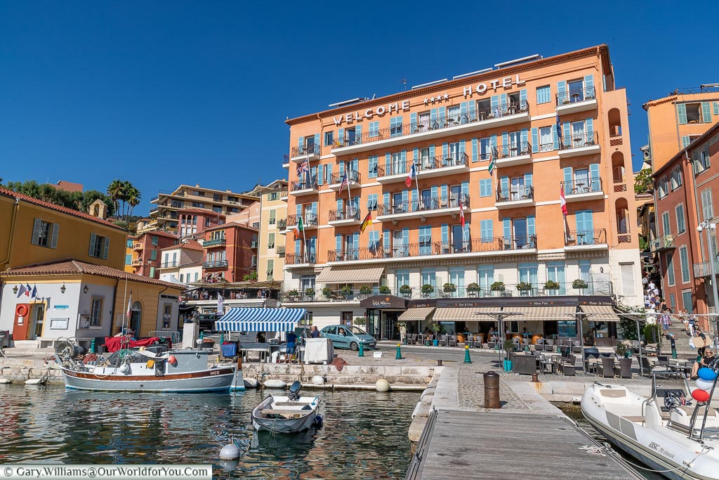 The view of our accommodation, the Welcome Hotel, from the jetty in Villefranche-sur-Mer