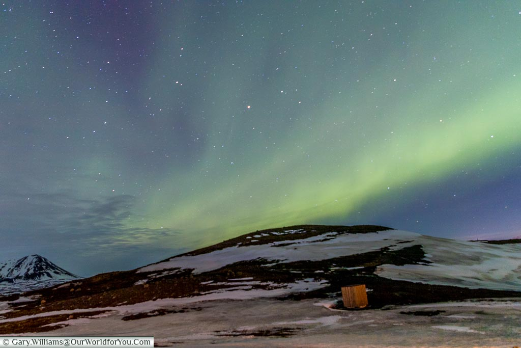 The green hues of the Northern Lights at Reykjahlíð, Eastern Iceland