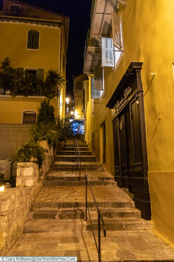 The lanes at night, Villefranche-sur-Mer, France