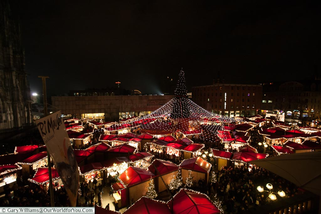 A view over the Dom Market, Christmas Markets, Cologne, Germany