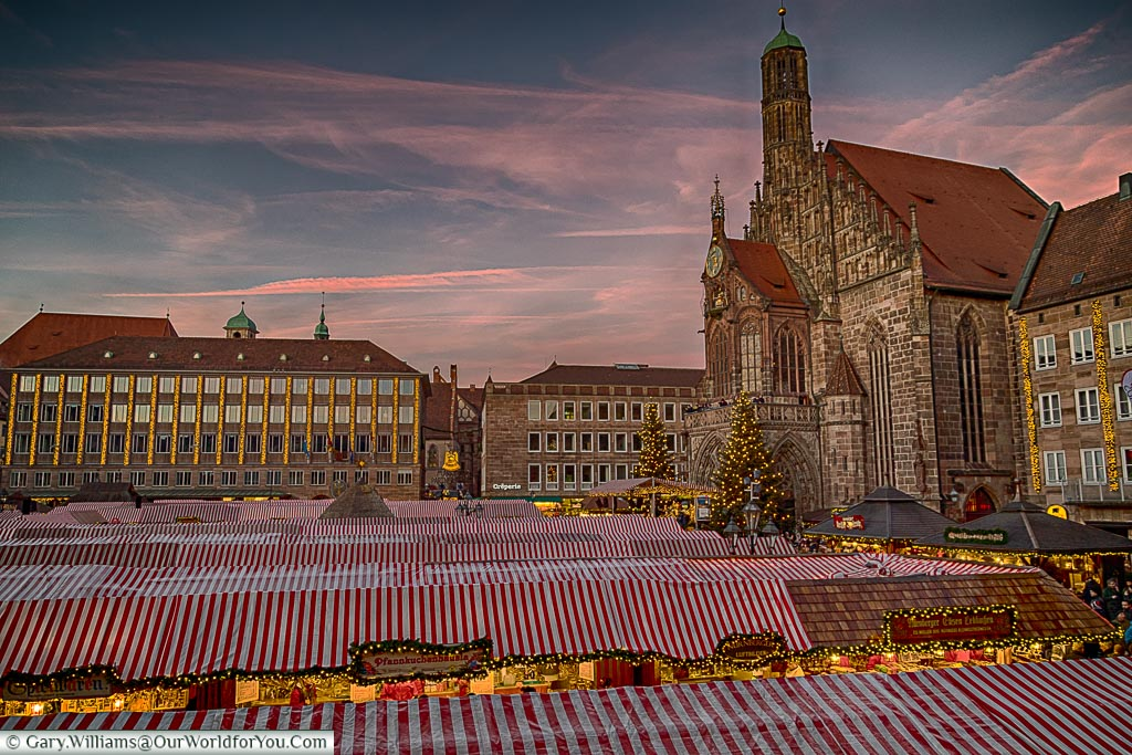 Across the red and white roofs of the Christkindlesmarkt, Nuremberg. Germany