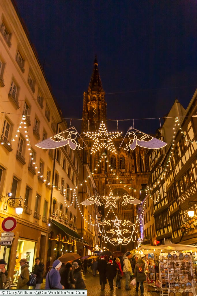 Angels light the way along Rue Mercière at Christmas, Strasbourg, France
