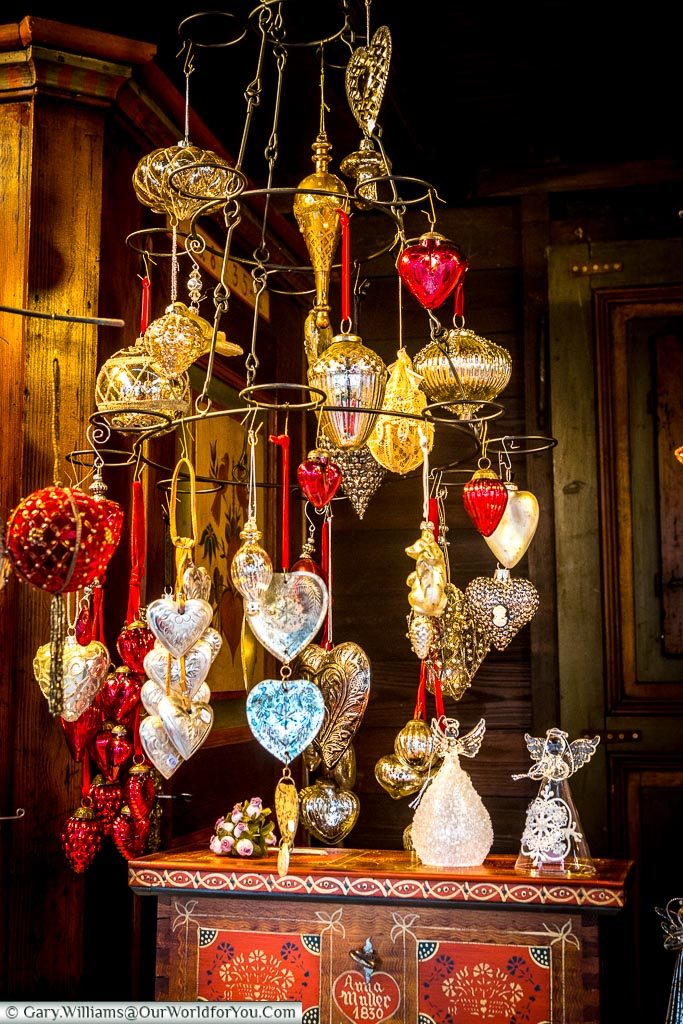 A collection of beautiful vintage baubles on a Christmas market stall in Strasbourg.