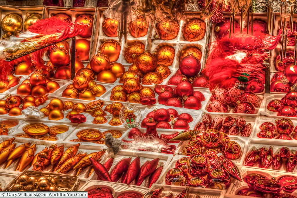Christmas Baubles at the Christmas market, Strasbourg, France