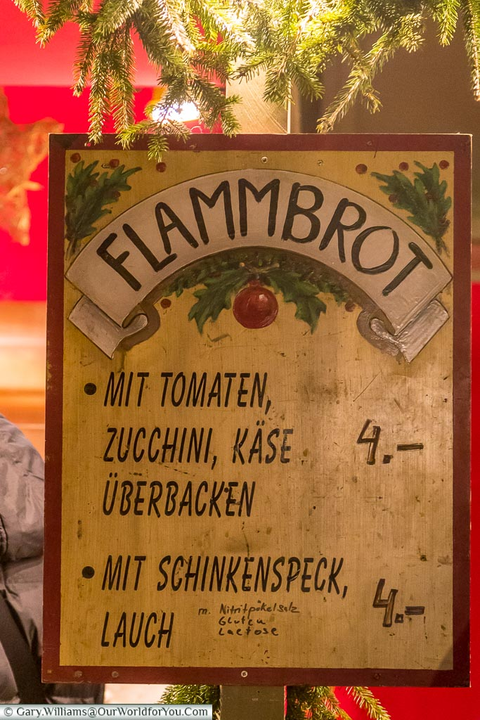 The flammbrot options, Rothenburg ob der Tauber, Germany