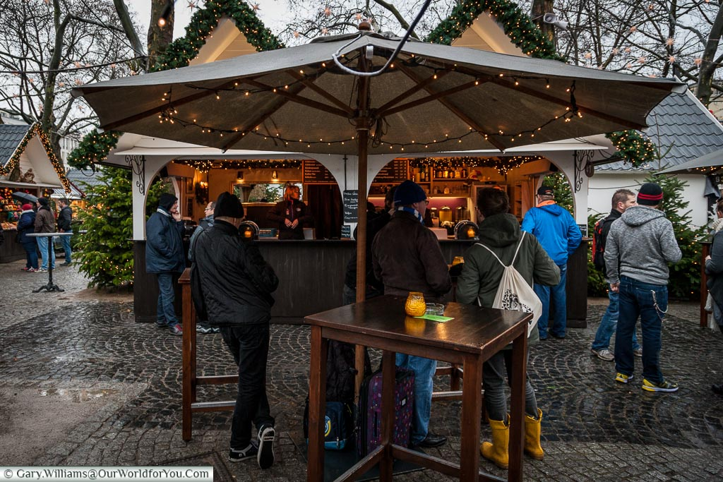 Friends gather at the Angel Market, Cologne, Germany