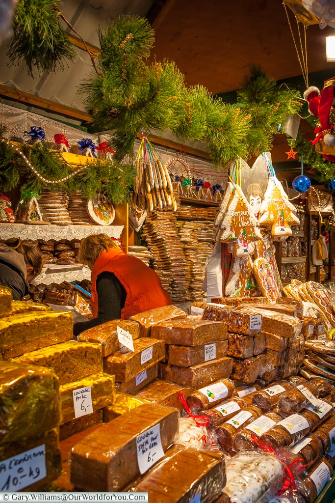 Gingerbread of all kinds at the Christmas market, Strasbourg, France
