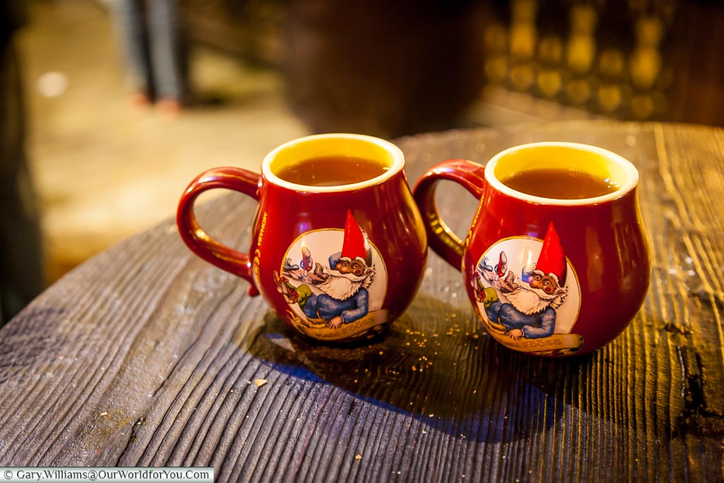 Gluhwein in the souvenir mugs, Christmas Markets, Cologne, Germany