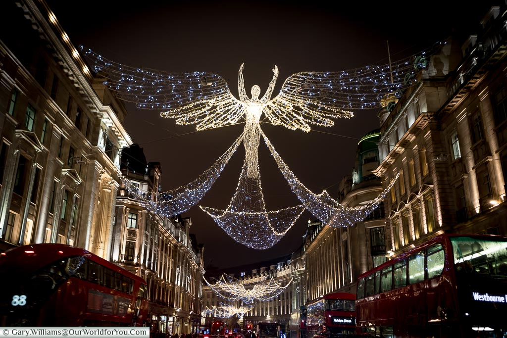 High above Regent Street at Christmas, London, England, UK